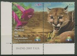 Peru 2005 Zoologischer Garten Heilige Blume Der Inka, Puma 1992/93 ZD Postfrisch - Peru