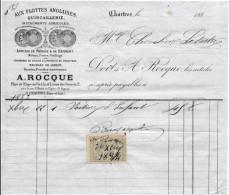 Facture De CHARTRES Illustrée  Place De L´ étape Au Vin Rue Des Grenets  Aux Flottes Anglaises Quincaillerie ROCQUE 1884 - 1800 – 1899