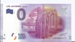 2016-1 BILLET TOURISTIQUE 0 EURO SOUVENIR N° 0033272 Clos Des Jacobins Toulouse - EURO