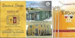 LOT De 3 Carte De Visite Vin TURSAN Landes , Gaillac , La Grande Cave De St Emillion - 2015 - Cartoncini Da Visita