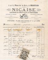 Facture De CHARTRES Illustrée Place De La Gare Loueur De Chevaux Et Voitures NICAISE En 1881 - 1800 – 1899