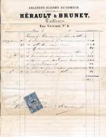Facture De CHARTRES Rue Vivienne Ancienne Maison Guerrier HERAULT BRUNET En 1879 - France