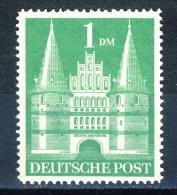 "1948 Germany MNH 1 Mark Stamp "" Holstentor"" Michel 97 Narrow Perfs (eng Gezaehnt) - American/British Zone"