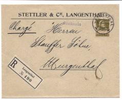 SUISSE 1916 Langenthal, Buste Tell 13 Centimes, Lettre Imprimé Recommandé Pour Murgental. Rare Affranchissement. - Suisse