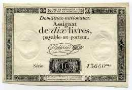Révolution Française /  ASSIGNAT De 10 Livres  / Série N°13660 Loi Du 24 Octobre 1792 De L'An I - Marcophilie (Lettres)