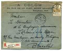 Lettre Recommandé De MONS BERGEN / 20 Février 1913 / Pour Bruxelles - Unclassified
