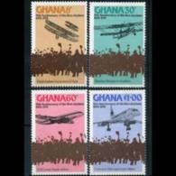 GHANA 1978 - Scott# 650-3 Flight-Planes Set Of 4 MNH - Ghana (1957-...)