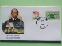USA 1985 Special Cover - War Heroes - Raphael Semmes - Cannon Fort Sumter Flag Ships - Etats-Unis