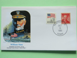 USA 1985 Special Cover - War Heroes - William Sims - WW1 Ships Flag - Etats-Unis