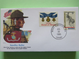 USA 1986 Special Cover - War Heroes - Smedley Butler - Marine Corps - Medal - Etats-Unis