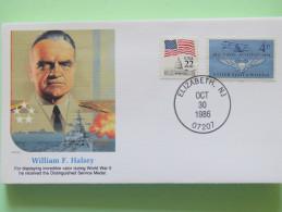 USA 1986 Special Cover - War Heroes - William Halsey - Ships - WW2 - Planes - Etats-Unis