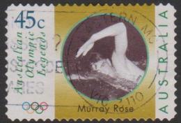 AUSTRALIA - DIE-CUT - USED 1998 45c Olympic Legends - Swimmer -Murray Rose - Swimming - 1990-99 Elizabeth II