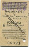 Potsdam - Wochenkarte Für Fahrradaufbewahrung Auf Station Potsdam 1937 - Sonstige