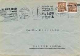 K8679 - Czechoslovakia (1937) Praha 14 (1c): Mark Up Their Telegrams To Overseas Countries VIA RADIO PRAHA (letter) - Czechoslovakia