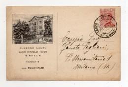 Lanzo D´ Intelvi (Como) - Albergo Lanzo - Viaggiata Nel 1924 - (FDC186) - Como