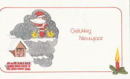 New Year Seasonal Greeting Card Gelukkig Nieuwjaar Santa Claus On Bike Fantasy As Per 2 Scans - Nieuwjaar