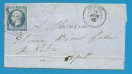France - Napoleon III N°14A Sur Lettre De ORANGE (PC 2330) Vers APT - Verso AVIGNON - 1849-1876: Classic Period