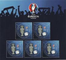 BLOC UEFA EURO 2016 FOOT AVEC 5 TIMBRES 3D DE 2 EUROS TIRAGE LIMITE 35000 EX - Blocs & Feuillets