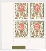 Schweiz Porto 25Rp 1934 Zu#46z ** Viererblock Postfrisch - Portomarken