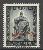 1949 Italia Italy Trieste MAZZINI Serie MNH** Gomma Bicolore - 7. Trieste