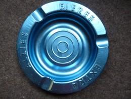 BRASSERIE - CENDRIER  -- BIERES EXTRA ALLIES - Bleu, Rond, Diamètre 19 Cm,  Métal - Cendriers