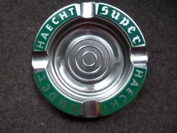 BRASSERIE - CENDRIER  -SUPER HAECHT  - Doré, Rond, Diamètre 19 Cm,  Métal - Cendriers