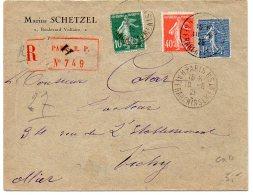 Semeuse Sur Lettre Recommandée De 1926 - CaD 'H Paris H  Affranchissements' - Marcophilie (Lettres)