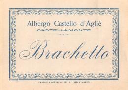 """06163 """"CASTELLAMONTE (TO) - ALBERGO CASTELLO D'AGLIE' - NEBIOLO -  BARBERA - BRACHETTO""""  LOTTO DI 4 ETICHETTE ORIGINALI - Etichette"""