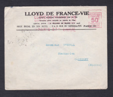 EMA LLOYD De France Vie Paris 50c Vers Pharmacie Bendell Corbigny Nievre Mars 31 - EMA (Empreintes Machines à Affranchir)