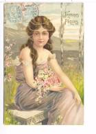 CPA Joyeuses Paques Jeune Fille Sur Banc Avec Fleurs Incrusté De Motif Doré Brillant 1904 Très Belle Carte - Pasqua