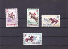 #131    HORSES, HORSEMAN, 4  X STAMPS, USED, 1964 , ROMANIA. - 1948-.... Republics