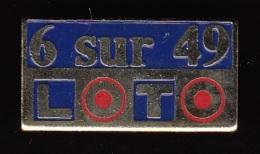 1 PIN'S NEUFS N° 20 FDJ - F.D.J. - LOTO 6 SUR 49 BLEU DANS SA POCHETTE D'ORIGINE - FRANÇAISE DES JEUX - LOTERIE... - Badges