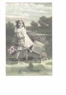 CPA FANTAISIE - Bonne Année - Fillette Brouette En Bois Panier De Fleurs - 1910 - N°177 - Szenen & Landschaften
