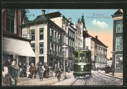 CPA Groningen, Tusschen Beide Markten, Tramway - Tramways