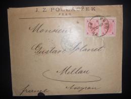 Tchecoslovaquie , Lettre De Praha 1891 Pour Millau , Affranchi Avec Timbres Autrichiens - Tchécoslovaquie