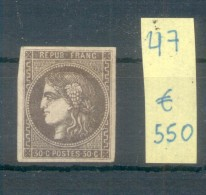 CERES EMISSION DE BORDEAUX YVERT NR. 47 MH AVEC CERTIFICATION D'EXPERT GRUNBERG AU DOS VOIR SCANS - 1870 Uitgave Van Bordeaux