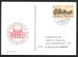 DDR P93 Postkarte SOZPHILEX Gelaufen Blankenfelde-Halle 1986 Kat. 9,00 € - DDR
