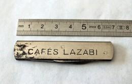 Canif - Couteau De Poche Publicitaire à 2 Lames, Manche En Métal Chromé. Cafés Lazabi - Art Populaire