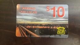 Surinam--(pc-ref-tel-005b)-city At Night-mobil Refil-10$-used Card+1card Prepiad Free