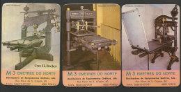 Portugal 3 Calendrier De Poche 1986 Anciennes Imprimantes Imprimerie 3 Small Calendar 1986 Old Printers Printing - Calendari