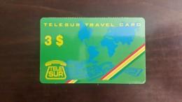 Surinam-(sur-telesur-02)-telesur Travel Card Green-3$-used Card +1card Prepiad Free - Suriname