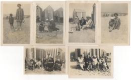 Foto/Photo. Heyst/Heist. Scènes De Plage, Cabines Rassauw. 1925/26. Lot De 6 Photos. - Lieux