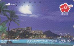 Télécarte Japon / 110-135629 - Site HAWAII / Série Hibiscus - CLAIR DE LUNE MOONLIGHT WAIKIKI - Japan Phonecard USA 820 - Hawaii