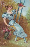 BIrthday Beautiful Lady On Swing 1910 - Geburtstag