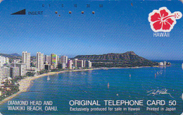 Télécarte Japon / 110-285017 - Site HAWAII / Série Hibiscus - HONOLULU Waikiki Beach - Japan Phonecard USA - 822 - Hawaii
