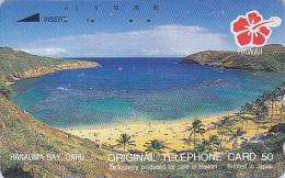 Télécarte Japon / 110-128599 - Site HAWAII / Série Hibiscus - Baie HANAUMA BAY / OAHU - Japan Phonecard USA Rel. - 823 - Hawaï