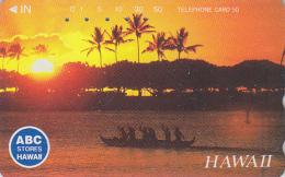 Télécarte Japon - Site HAWAII / Série ABC STORES - Coucher De Soleil Bateau Pêche - Sunset Japan Phonecard USA Rel.  825 - Hawaii
