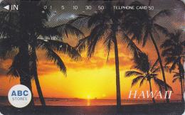 Télécarte Japon - Site HAWAII / Série ABC STORES - Coucher De Soleil & Palmiers - Sunset Japan Phonecard USA Rel. 826 - Hawaii