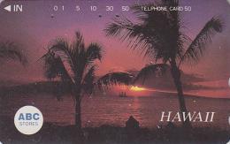 Télécarte Japon - Site HAWAII / Série ABC STORES - Coucher De Soleil & Palmiers - Sunset Japan Phonecard USA Rel. 827 - Hawaii