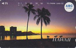 Télécarte Japon - Site HAWAII / Série ABC STORES - Coucher De Soleil & Palmiers - Snuset Japan Phonecard USA Rel. 829 - Hawaii
